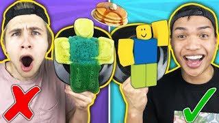 PANCAKE ART CHALLENGE!!! Learn How To Make ROBLOX noob DIY Pancake!