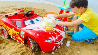 Ali ride on toy car and playing car wash with cleaning toys
