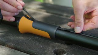 How to change the rope in the Fiskars tree pruner UPX86