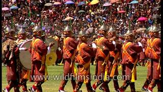 Royal spectacle: Bhutanese band parades before the Himalayan nation