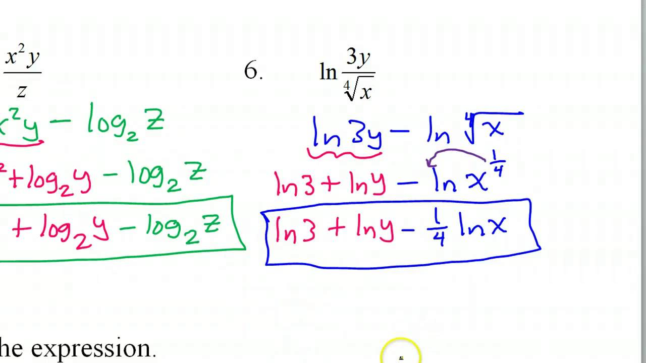 Expanding and Condensing Logarithms   YouTube
