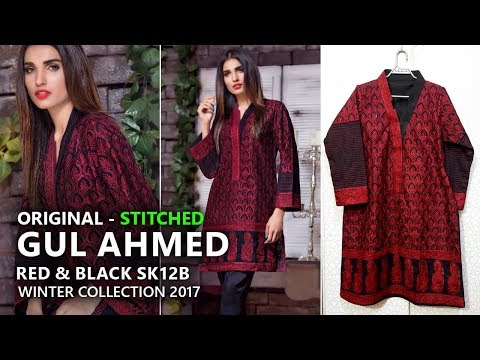Gul Ahmed Winter Collection 2017 - Stitched SK12B Red & Black - Pakistani Branded Clothes