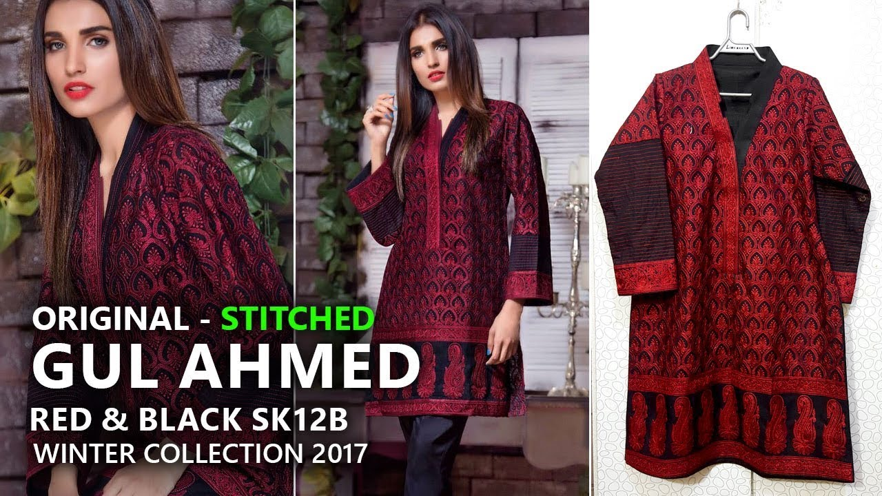 65e1644fca Gul Ahmed Winter Collection 2017 - Stitched SK12B Red & Black - Pakistani  Branded Clothes