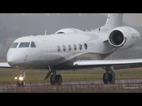 Gulfstream V N371JC Take-Off at Bern Airport