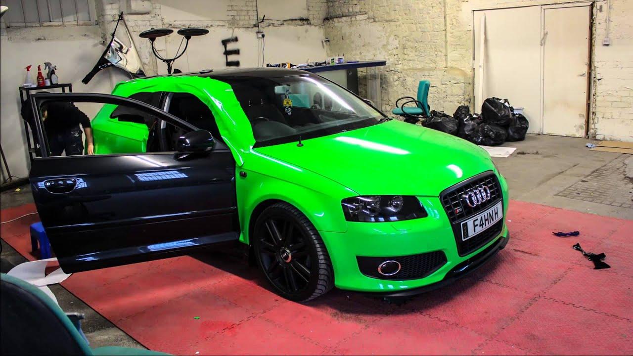 #Audi #A3 #S3 #NeonGreenVinyl #VinylWrap #VehicleWrap #AppleGreen