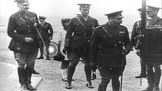 British and Belgian monarchs and French officers gather in France to meet with Pr...HD Stock Footage