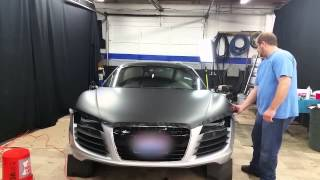 2 Tone Matte Black and Brushed Black Metallic 2008 Audi R8 Wrap