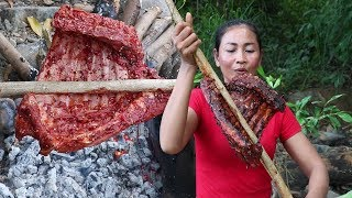Life skills: BBQ ribs for Lunch food ideas - Cooking Pork ribs for food and eating food Ep 18