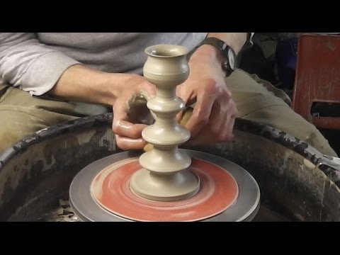 Making / throwing a Pottery Candlestick on the wheel