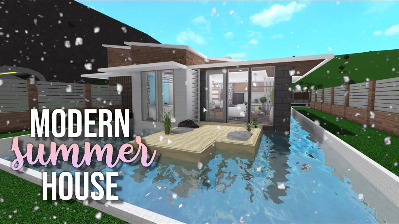 Roblox Houses For 50k Mini Mansion Bloxburg Modern Summer House 48k House Build Youtube