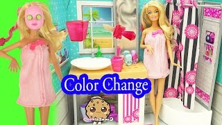 Barbie Spa To Fab with Color Changing Makeup Mask & Nail Polish - Cookieswirlc Video(Barbie is getting ready to go out with her friends. With this barbie set we can help her go from spa to fab. Comes with clip in pink hair extensions, face mask, spa ..., 2016-04-24T18:11:44.000Z)