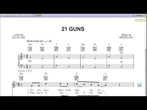 21 Guns Green Day  Piano Sheet Music Teaser