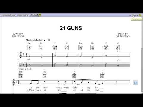 21 Guns Green Day  Piano Sheet Music Teaser