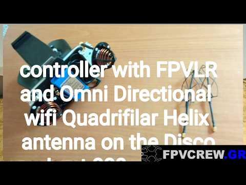 Parrot Disco Ground test with Omni Directional Quadrifilar Helix wifi antenna.