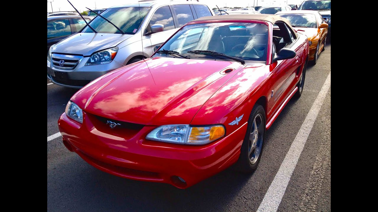 1994 ford mustang svt cobra convertible 5 0l v8 start up quick tour rev with exhaust view 25k youtube