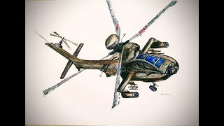 HOW TO DRAW APACHE AH-164 HELICOPTER,Drawing timelapse