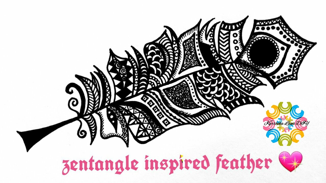 Zendoodle - Zentangle Inspired Feather ( Step by Step for Beginners ) |  Karthika Loves DIY
