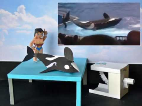 Papercraft Orca knocks down trainer, my paper model