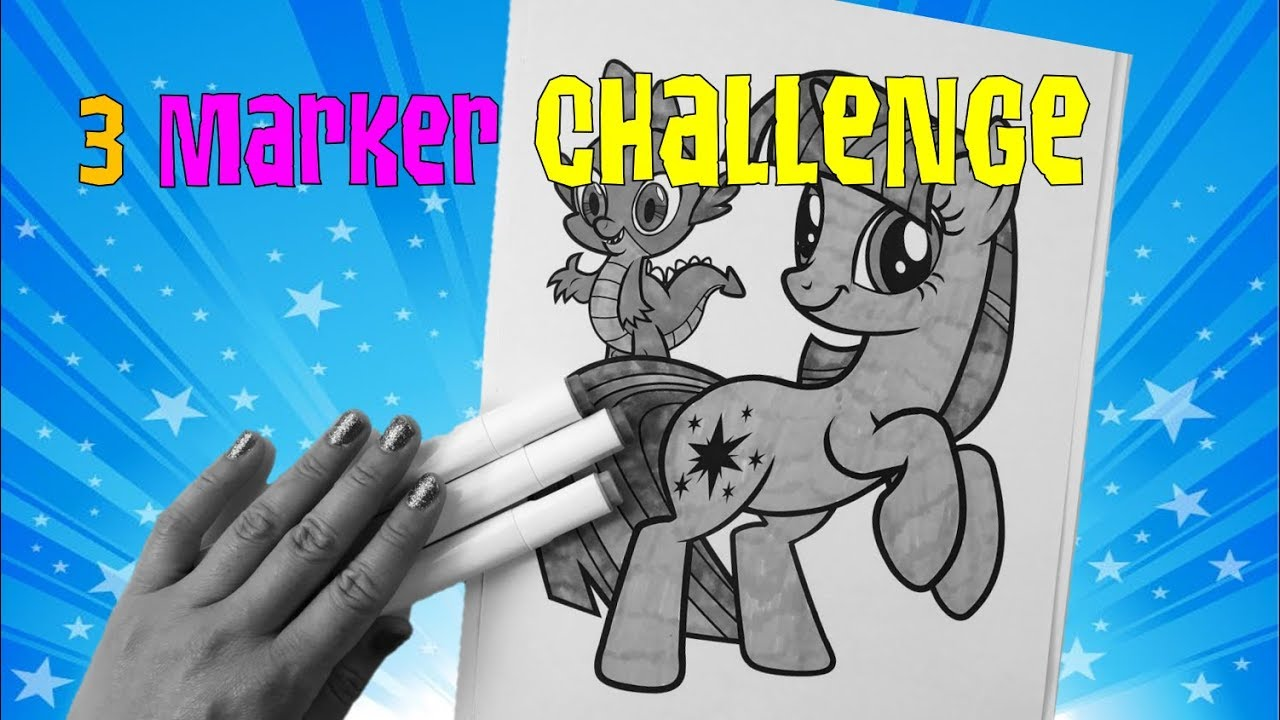 3 marker challenge my little pony coloring  youtube