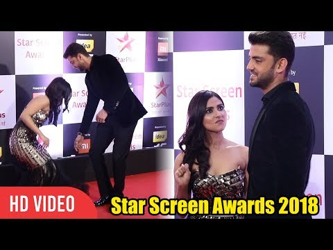 Zaheer Iqbal and Pranutan Bahl at Star Screen Awards 2018  | NOTEBOOK Cast