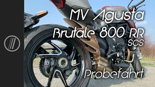 MV Agusta Brutale 800 RR SCS 2021 test ride + german Autobahn + Soundcheck with english subtitles