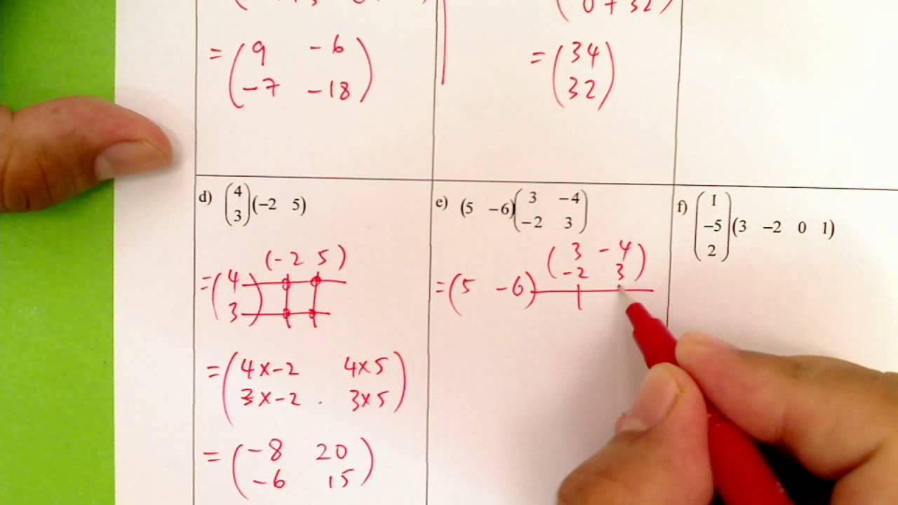 F5 Matriks Pendaraban 2 Matriks Jawapan C F Youtube