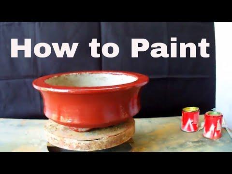बोन्साई गमले को रंग कैसे करे /How to Paint Cemented Bonsai Pot -10 Nov 2017 - 동영상