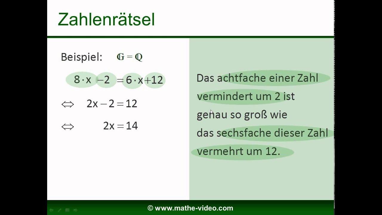gleichungen lösen - Beispielaufgaben mit Lösungen (8) - YouTube