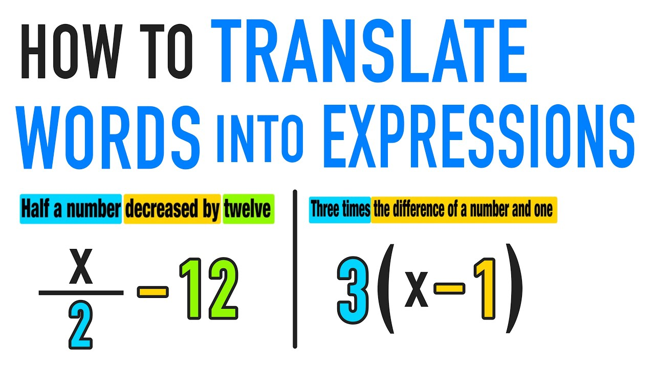 Learn To Translate Algebraic Expressions Into Words Common Core