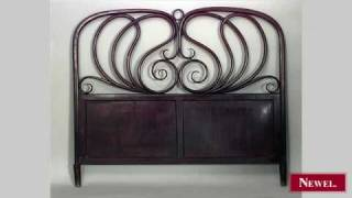 Antique Bentwood mahogany stained queen size bed with scroll