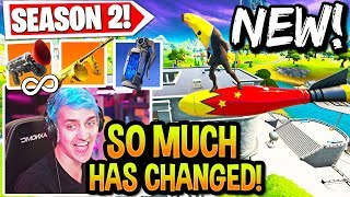 STREAMERS REACT TO *EVERYTHING* NEW in SEASON 2! (SO MUCH CHANGED!) FORTNITE UPDATE