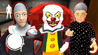 БАБКА ГРЕННИ СТРАШНЫЙ КЛОУН И МОНАХИНЯ - Clown Neighbor Gang Granny