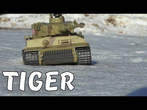Тест-драйв ТИГРА по снегу!  Тест орудия на пробитие ...  Р/у танк Taigen German Tiger I