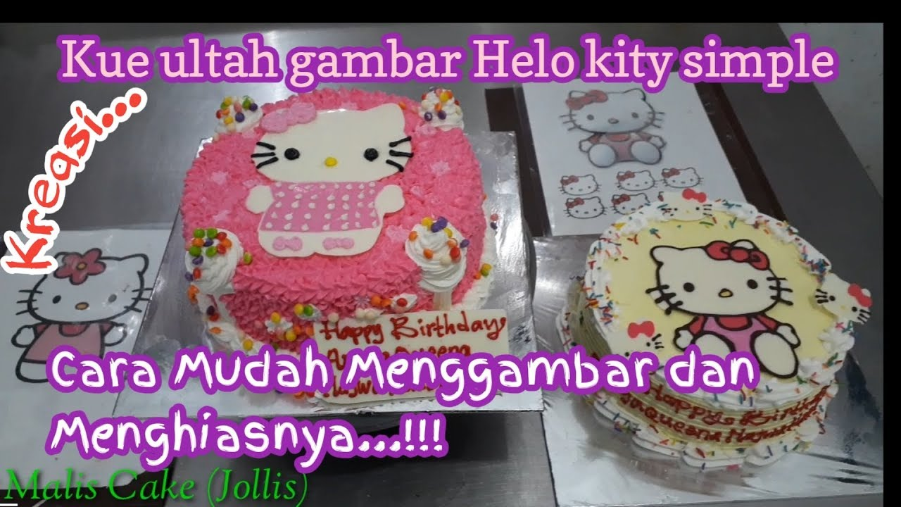 Kue Ulang Tahun Gambar Hello Kitty Cara Mudah Menghias Kue Ultah Helo Kity Helo Kity Birthday Youtube