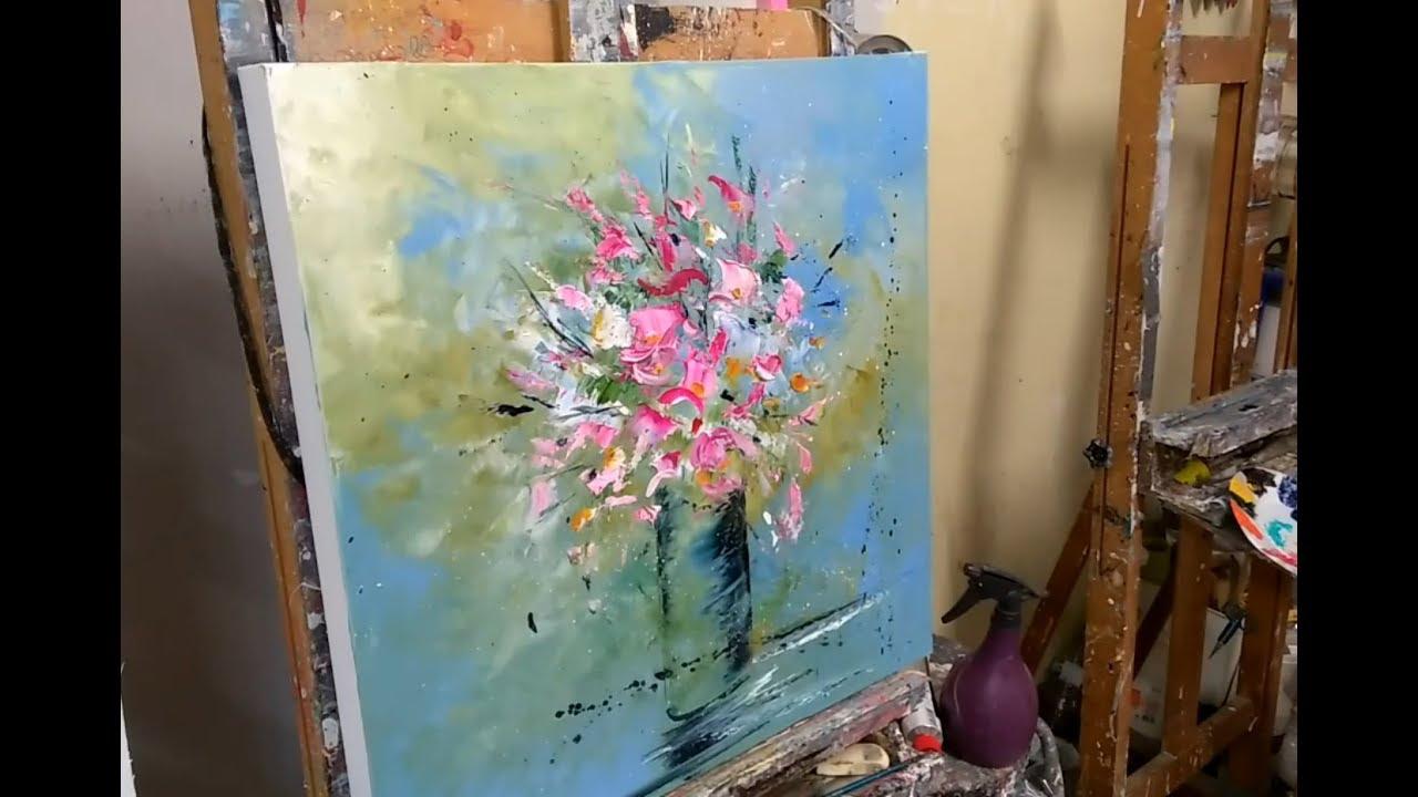 utiliser des restes de peinture un bouquet de fleur au couteau demonstration youtube