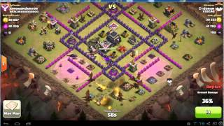 Clash of Clans Attacking Spread Out TH9 Base with Dragons (friend's 2/2)