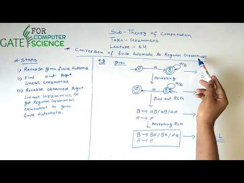 Theory of Computation Lecture –6.4(Finite Automata to Regular Grammar) | Gate For Computer Science