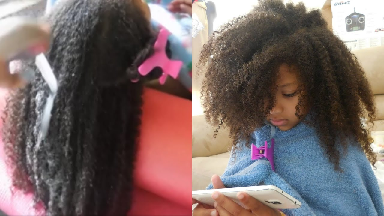 Wash Style day for kids with CURLY THICK NATURAL hair NO BRUSH OR