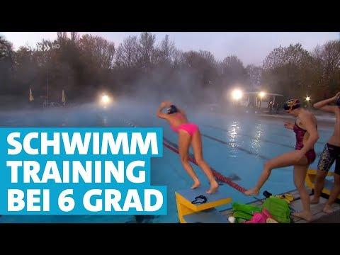 Schwimmtraining bei Eiseskälte