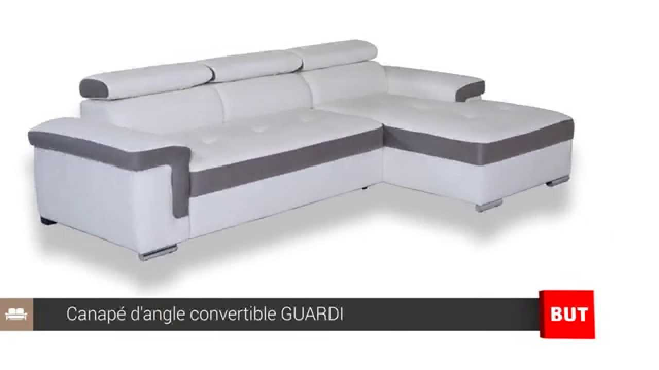 Canap d 39 angle convertible et m ridienne guardi but youtube - But canape d angle ...