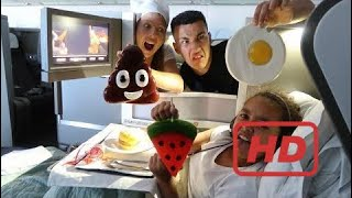 Real Food VS Gummy Food! Gross Giant Candy Challenge - Business Class Airplane Flight Edition