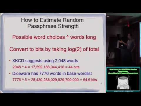 PW - How Secure Are Multi-Word Random Passphrases? - Bruce Marshall