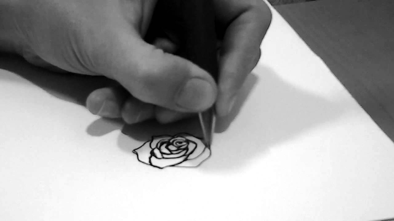 Draw Small Rose Tattoo Design Youtube