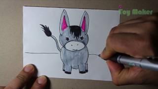 Como Dibujar un burro pequeño muy fácil.