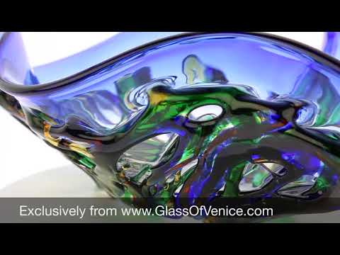 Murano Glass Mars Abstract Art Vase   Blue