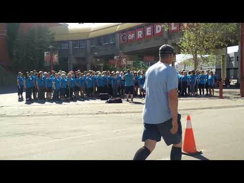 "Cool Choir performing ""We are the Champions"" during the 2018 Calgary Marathon"