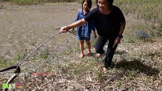 Amazing beautiful girls Catching Big Village Snake | Easy to Catch water Snake