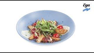 Рецепт теплого салата из кальмаров с сырным соусом