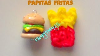 Tutorial: PAPITAS FRITAS DE GOMITAS (CON TELAR) RAINBOW LOOM FRENCH FRIES CHARM