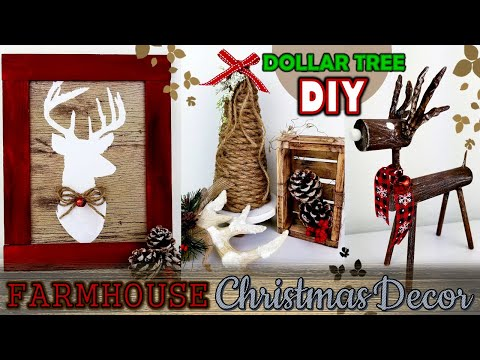 DOLLAR TREE DIY | FARMHOUSE CHRISTMAS DECOR IDEAS 2019